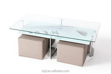 Modern Tempered Glass Coffee Table With 4 Stools XS-3261