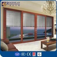 ROGENILAN 120# (auto remote control blinds) cheap interior wooden glass aluminium sliding doors