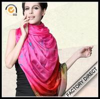 Digital printed silk chiffon muslim hijab shawl scarf as custom pattern in high quality