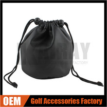 Factory Wholesale Blank Black Golf Tee/Ball/Marker Drawstring Pouch, Golf Pouch