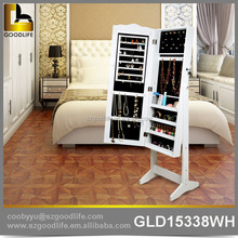 Contemporary floor stand wooden mirrored jewelry armoire