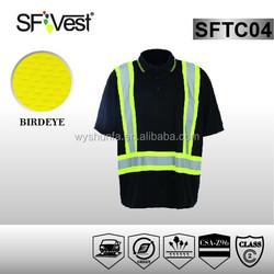 CSA Z96-09 2015 new design traffic warning reflective rib collar hi vis polo shirt with pocket