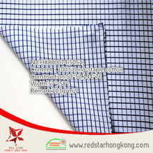 2015 wholesale 100% cotton long stapled blue check fabric
