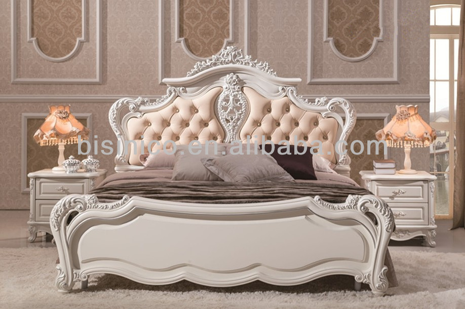 Princess Lovely Style Fancy Bed Wooden Hand Carved Soft Bed Elegant Solid Woo