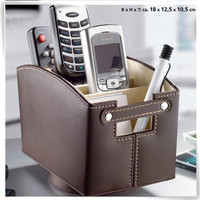 Luxury handmade PU leather decorative TV remote control holder for home