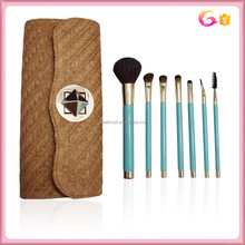 Unique 7pc natural hair makeup brush set with straw woven fabric case