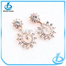2015 summer hot sell lady's sunflower druzy stud earrings