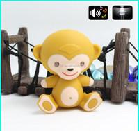 new product plastic yellow monkey shape LED light with sound keychain