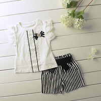 Summer 2015 Litte Girl Clothing Set With Lace Pierced Top+Stripe Shorts Kids Costume Black And White Clothes Sets CS50404-1