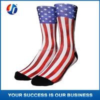 American flag sublimation printing crew basketball socks