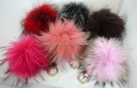 custom Luxury plush Fox Fur Ball Keyring Bag Charm fluffy ball keychain