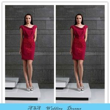 TWE15 New Arrival Plus Size Fashion Knee Length Appliques Short Sleeve Wine Red Evening Gowns Cocktail Dress