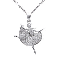 2015 new arrival ballet girl pendant, 925 silver charm, micropave pendant wholesale