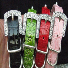 Rhinestone Buckle Faux Leather Pet Collars for Dogs