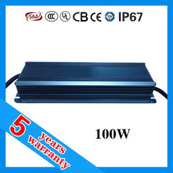 5 years warranty CE RoHS SAA TUV UL approved high PFC waterproof IP67 LED driver 2.4A 100W