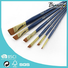 Wholesale 6Pcs/set Artists Painting Brush Set Flat Shape Nylon Hair Watercolor Painting Brush Professional Art Supplies