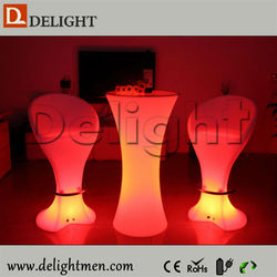 Bar Furniture battery operate PE remote control illuminated lab stool chairs for garden