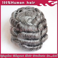 Elegant-wig High Top Quality Grey Remy Human Hair Mens Toupees For Old Men