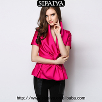 2015 New woman v neck blouses in satin big bow blouses ladies