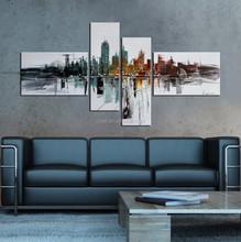 Unique building 4 pieces painting artwork on canvas