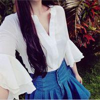 Wholesale Custom OEM import blank eton ladies half sleeve shirt women tank top blouses shirts