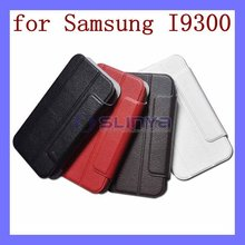 Leather Skin Hard Shell Cell Phone Fold Stand Cover for S4 Samrt Case