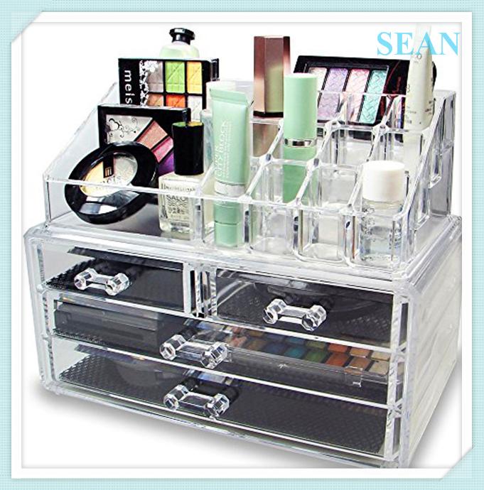 Hot venda por atacado barato acrílico cosméticos organizador maquiagem com gavetas