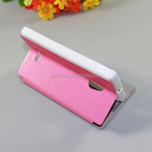 2014 new design with stand holder and sucker pouch leather case for nokia xl flip cover