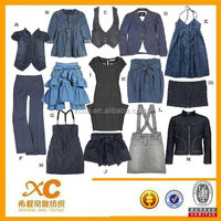 Denim fabric suitable for use as apparel is made from about 40-100% fibers produced from denim waste
