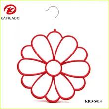 KAREADO promotional gift creative design bright color plastic velvet towel scarf clothes drying rack tie hanger