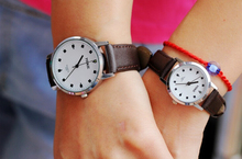 2014 Top fashion Couple lover wrist watch with leather long strap