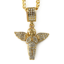 HIP HOP china wholesale necklace gold plated micro pave praying cherub angel pendant hiphop bling bling jewelry