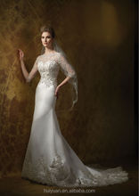 high quality backless mermaid long sleeve lace wedding dresses 2012