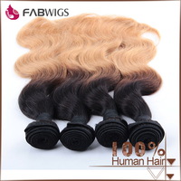 Fabwigs alibaba China hot sale 1B 27 different color body wave Brazilian expensive human hair ombre hair weaves