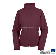 Womens Solid 3 Layers Knit Bonded Waterproof Softshell Jacket