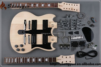 cheap dropship double neck sg guitar kits unfinished