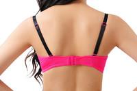 Мода розовый глубокий v-образным вырезом кружева бюстгальтер белье набор женщин в толчок вверх новый дизайн благородный бюстгальтер набор