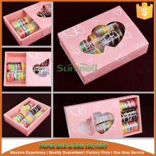 sleeve and tray style pink macarons box with heart window