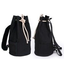 New large capacity men drawstring backpack canvas bucket bag unisex Fashionable concise basketball bags