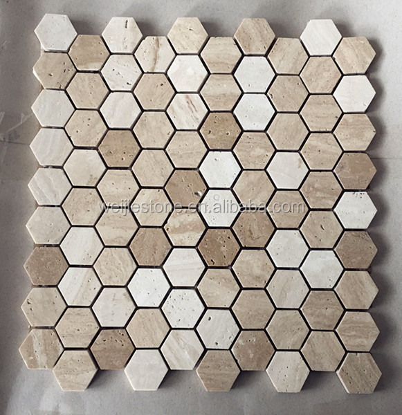 White Travertine Hexagon Tile Floor Mosaic View Hexagon Tile Floor