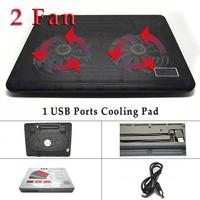 Cooling Pad with 2 Fan 1 usb port Laptop Cooling Pad Laptop Table Cooler Cooling Fan Blue Led Laptop notebook cool Table Stand
