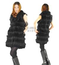 Cx-g-b-224d nuevos productos de las mujeres chaleco de punto superior real conejo chaleco de piel