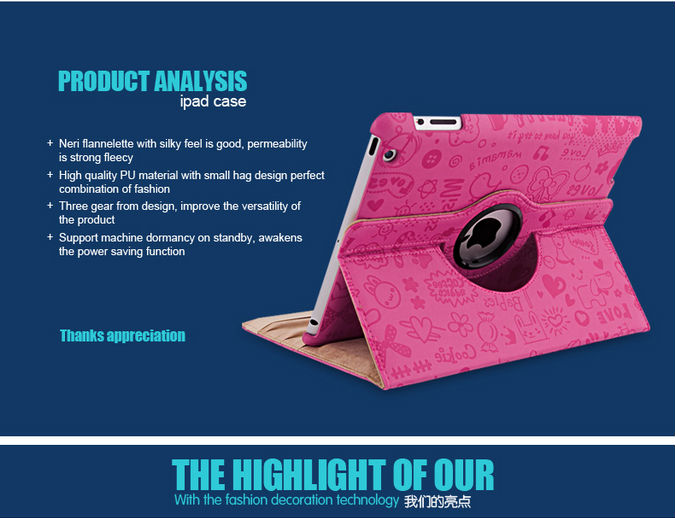 Mini Small Girl series PU 360 rotate for mini ipad case