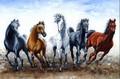 Famosa pintores hechos a mano Running 5 y el Chasing caballos pintura al óleo en la lona