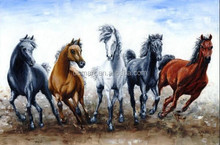 Famous Painters Handmade 5 Running and Chasing Wild Horses Oil Painting on Canvas