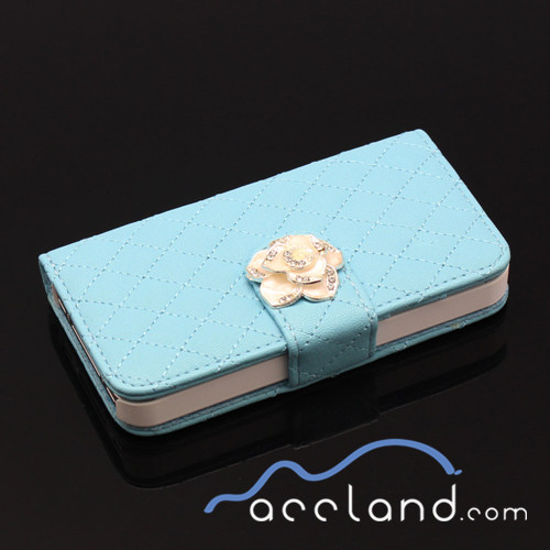 Fashion Luxury Grid Wallet Stand Flip PU Leather Cell Phone Case for iPhone and Samsung
