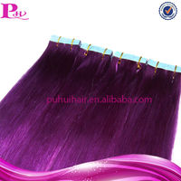 best quality purple colour clear band tape hair extensions