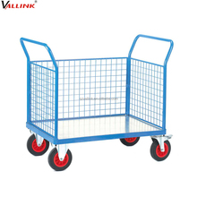three mesh sides collapsible metal cart with wheels