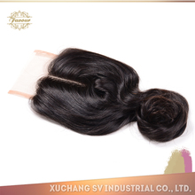 Super quality hair goods from China peruvian hair light brown lace front closure piece