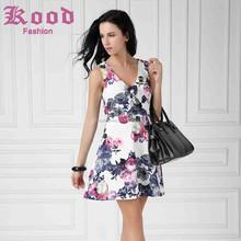 fashion summer design flower printing v neck sexy birthday girls party dress